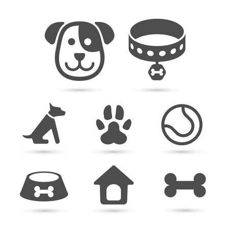 Símbolo bonito do ícone do cão ajustado no branco. Vetor