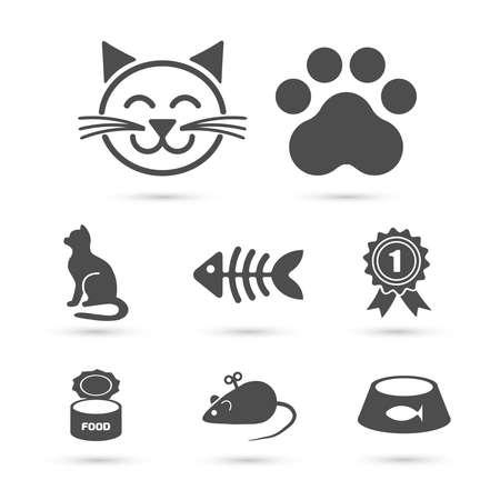 Leuke kat pictogram symbool ingesteld op wit. Vector