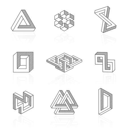Trendy optical illusion shapes on white. Vector Vettoriali