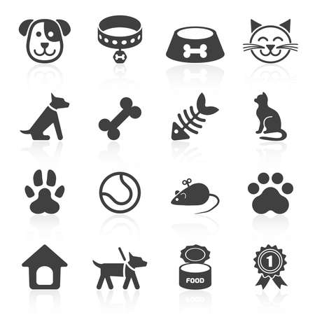 silueta gato: Iconos de moda para mascotas aisladas en blanco. Vector