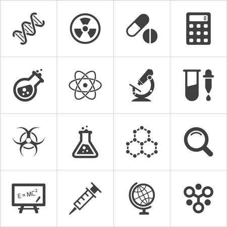 Ícones da ciência na moda em branco. Vetor