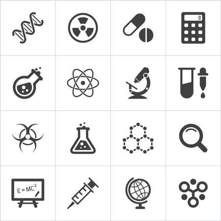 biologia: Iconos de la ciencia de moda en blanco. Vector