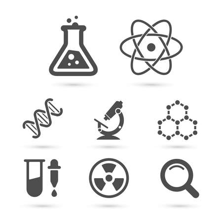 Science trendy icons pack. Vector elements Çizim