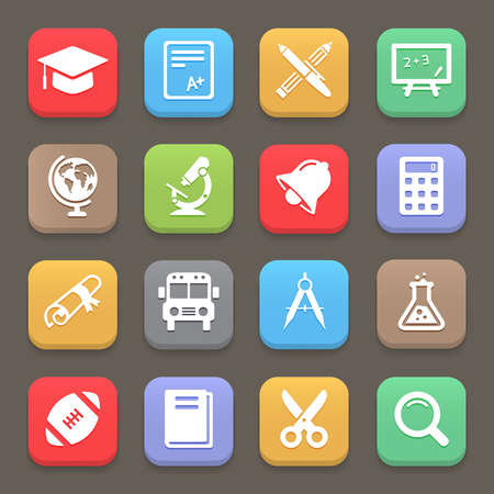 computer education: Education icons for web or mobile. Vector