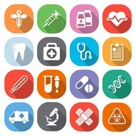 medical symbol: Iconos m�dicos planas de moda con sombra. Vector Vectores