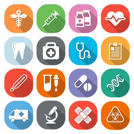 medical occupation: Trendy flat medical icons with shadow. Vector