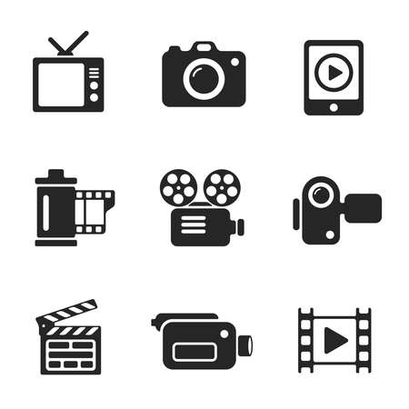 video icons: Set vector computer icons of photo and video