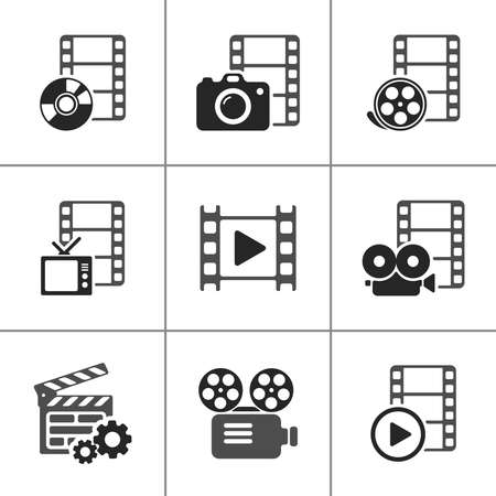 multimedia pictogram: Film icon pack on white. Vector elements