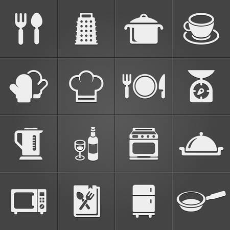 cocinero: Iconos de la cocina en fondo negro. Vector