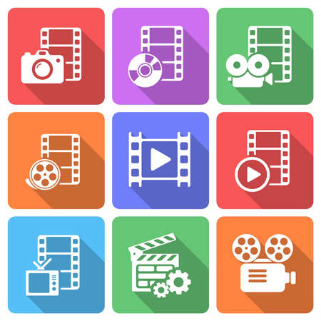 Trendy flat film icon pack. Vector Ilustracja