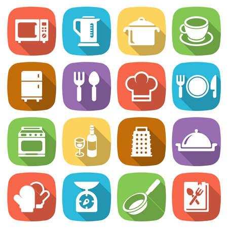 kitchen cooking: Trendy flat kitchen and cooking icons. Vector