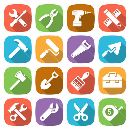 construction paper art: Trendy flat working tools icons. Vector