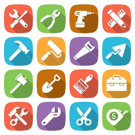 herramientas de construccion: Trendy iconos de las herramientas de trabajo plana. Vector Vectores