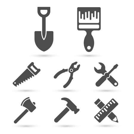 work tools: Iconos de herramientas de trabajo en blanco. Elementos del vector Vectores