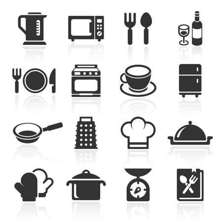 Kitchen and cooking icons white. Vector Ilustracja