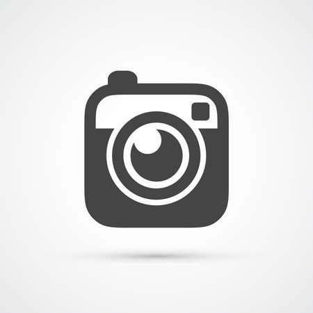 Trendy platte Hipster camera foto-icoon Stock Illustratie