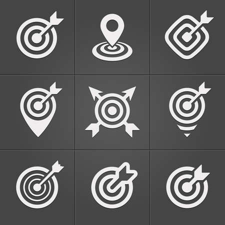 Target icons pack for business mobile interface Vector