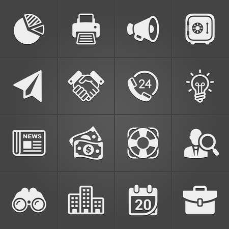 Business and finance icons on black set 1. Vector Ilustracja