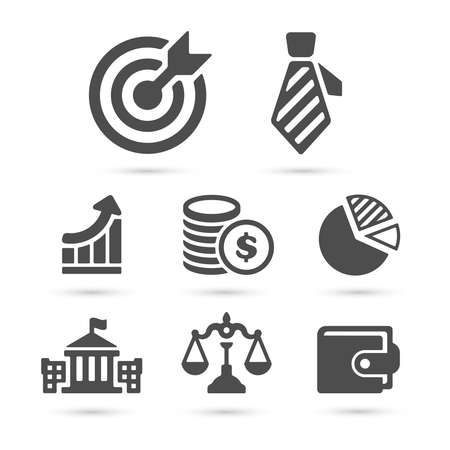 Business finance icons isolated on white. Vector Illustration