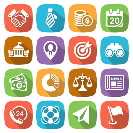 handclasp: Trendy flat business and finance icon set 2 Vector Illustration