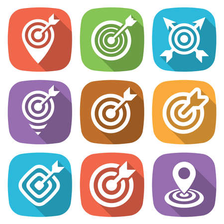 intent: FLat target icon pack with shadow. Vector