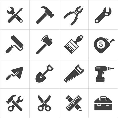 construction paper art: Working Tool and instrument icons white. Vector Illustration