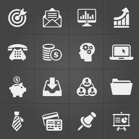 business diagram: Business and finance icons on black set 2. Vector