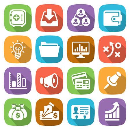 Trendy vlakke zakelijke en financiële icon set 3 Vector Stock Illustratie
