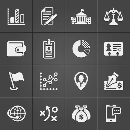 Business and finance icons on black set 3. Vector