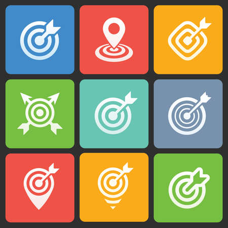 Colorful target icons for web and mobile. Vector Vector