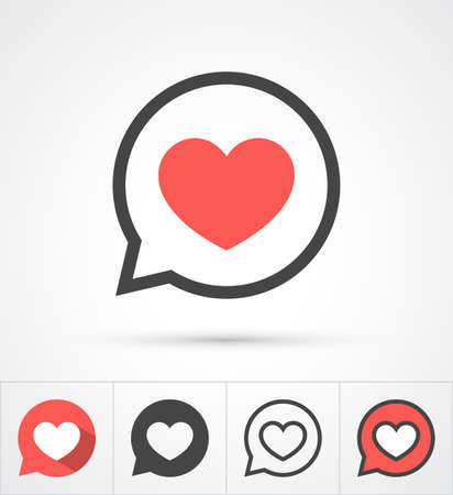 Heart in speech bubble icon. Vector Çizim