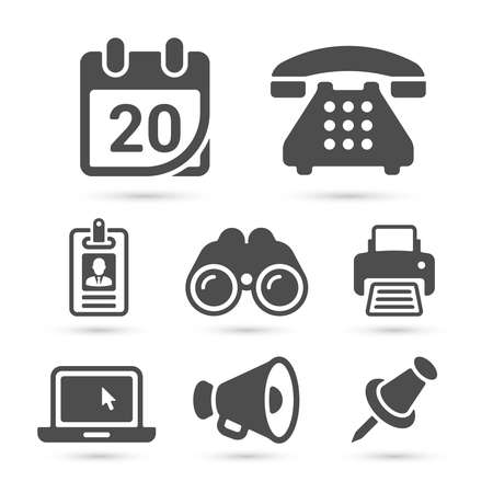 pinboard: Business finance icons isolated on white set 6. Vector illustration