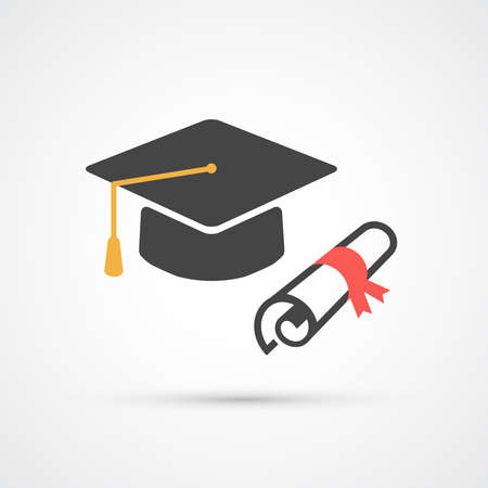 Education hat and diplom flat icon.  Vector illustration