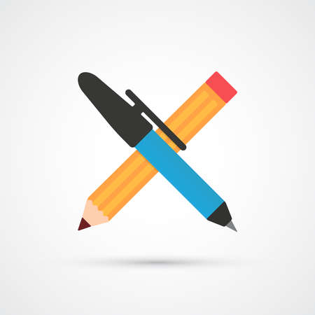 pens: Pen and pencil flat color icon.  Vector illustration