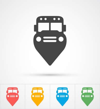 marker: De moda icono de chincheta autobús para ver el mapa. ilustración vectorial