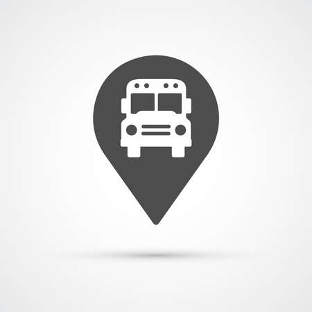 red bus: Bus marker pin icon for map.  Vector illustration