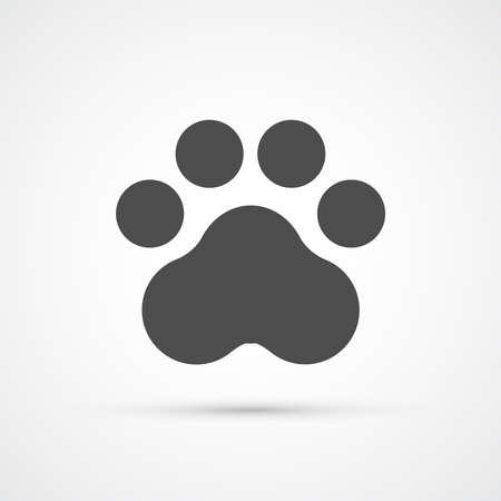 huellas de perro: Huella de la pata de moda icono plana. ilustración vectorial