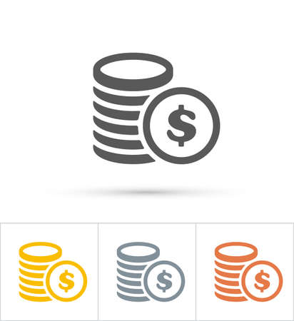 Coins flat Icons. Gold silver copper.  Vector illustration Vettoriali