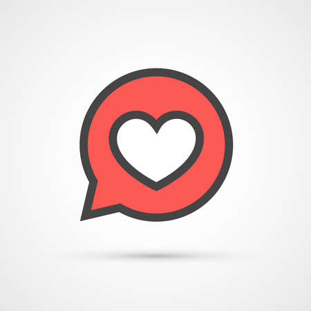speech icon: Heart in speech bubble stroke icon. Vector illustration