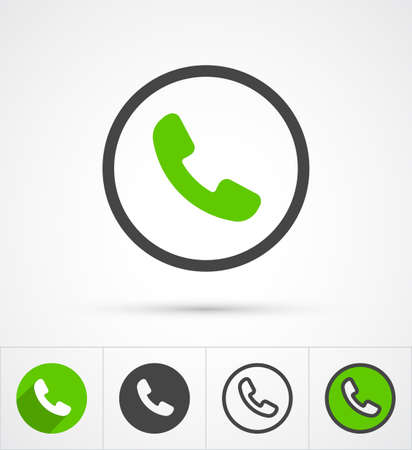 phone and call: Phone in cyrcle call icon. Vector illustration