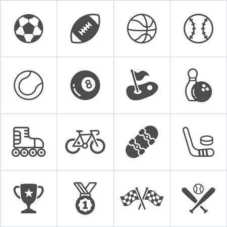 inline skate: Sports trensy flat trendy icons. Vector illustration