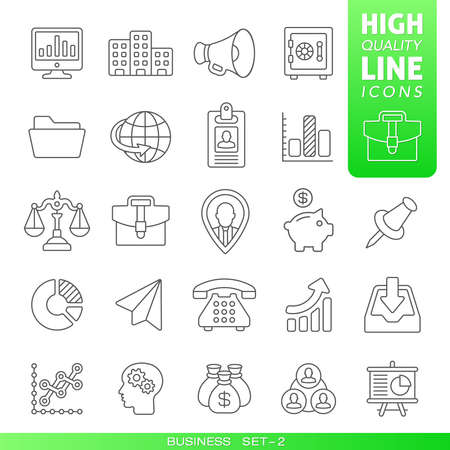 Business and finance high quality trendy line icons set 2. Vector illustration Иллюстрация