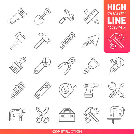 Construction tools high quality line icons.  Vector illustration