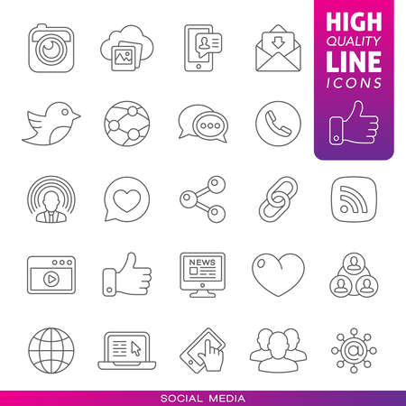 Social media high quality line icons.  Vector illustration 向量圖像