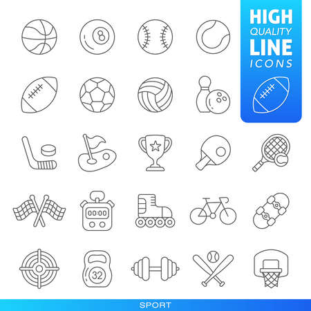 Sports and games high quality trendy black line icons. Vector illustration