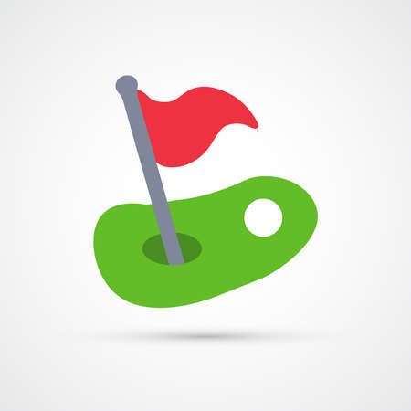 Golf red flag ball and hole trendy color icon. Vector eps 10.