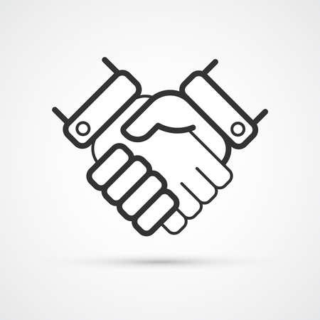 Handshake trendy black icon. Vector illustration