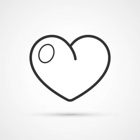 Heart trendy style black icon. Vector illustration