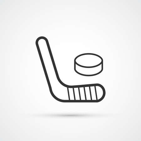 Hockey trendy stick and puck icon. Vecto rillustration