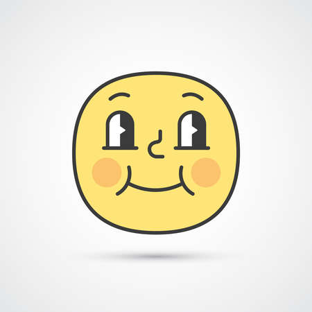 Satisfied smile emoji with big eyes. Cute face. Vector eps10